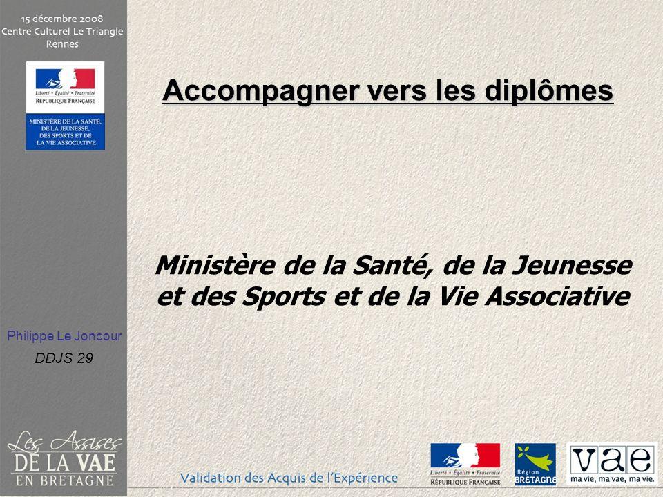 Philippe Le Joncour DDJS 29 Accompagner vers les diplômes Accompagner vers les diplômes Ministère de la Santé, de la Jeunesse et des Sports et de la V