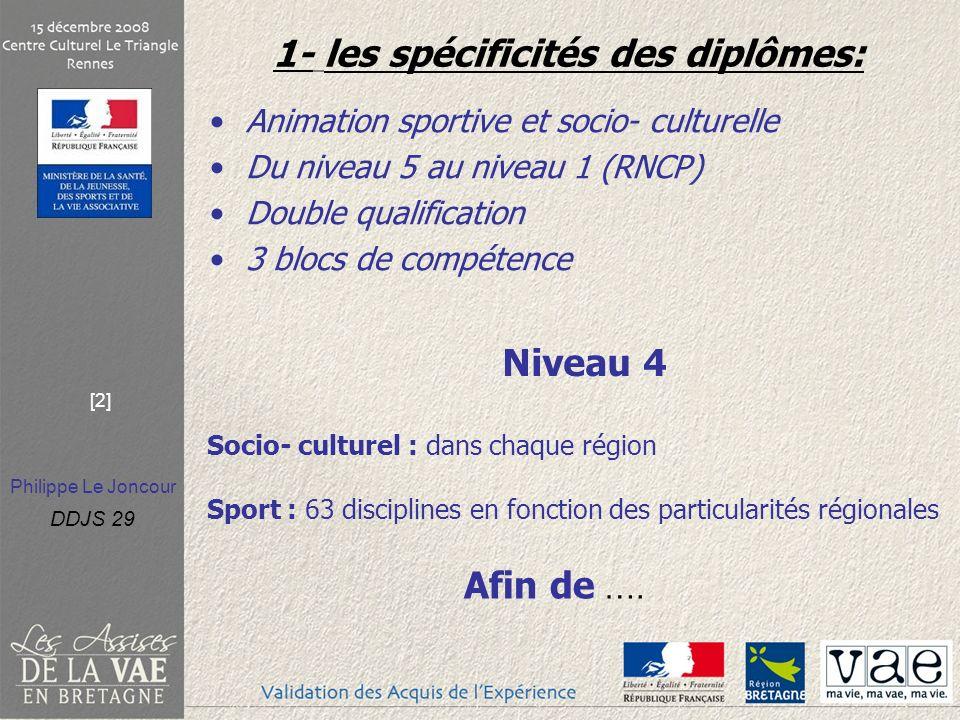 Philippe Le Joncour DDJS 29 [2] 1- les spécificités des diplômes: Animation sportive et socio- culturelle Du niveau 5 au niveau 1 (RNCP) Double qualification 3 blocs de compétence Niveau 4 Socio- culturel : dans chaque région Sport : 63 disciplines en fonction des particularités régionales Afin de ….