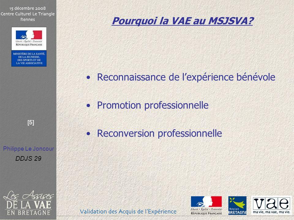 Philippe Le Joncour DDJS 29 [5] Pourquoi la VAE au MSJSVA? Reconnaissance de lexpérience bénévole Promotion professionnelle Reconversion professionnel