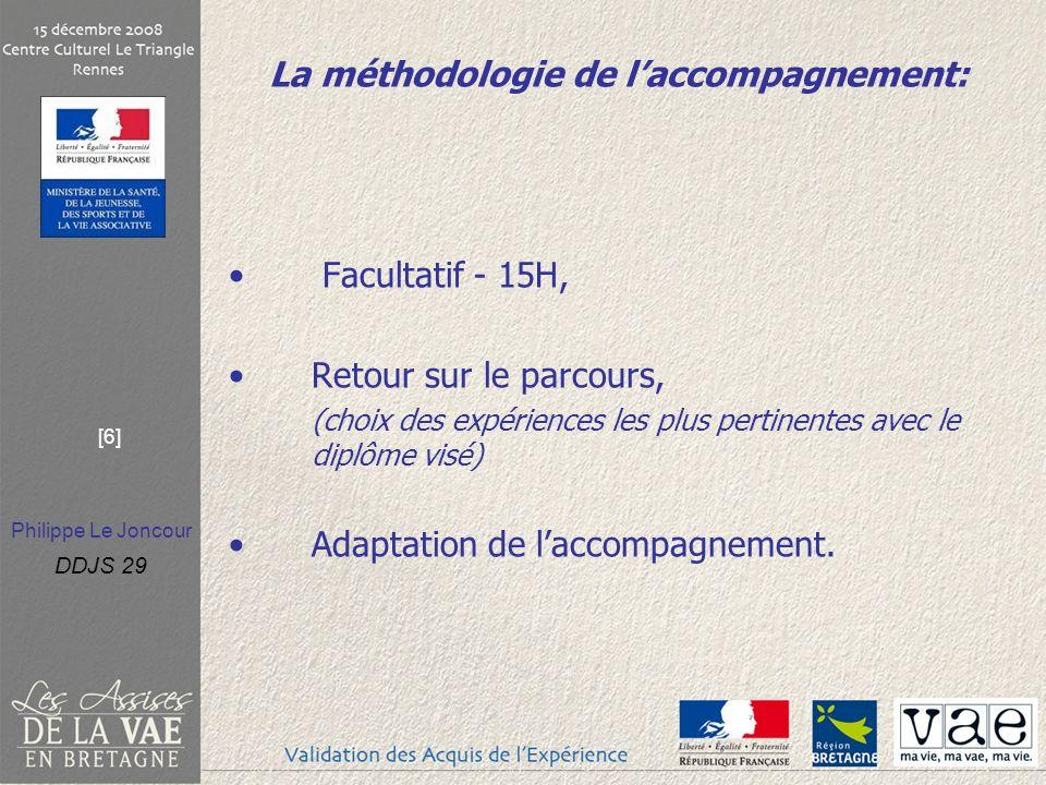 Philippe Le Joncour DDJS 29 [6] La méthodologie de laccompagnement: Facultatif - 15H, Retour sur le parcours, (choix des expériences les plus pertinentes avec le diplôme visé) Adaptation de laccompagnement.