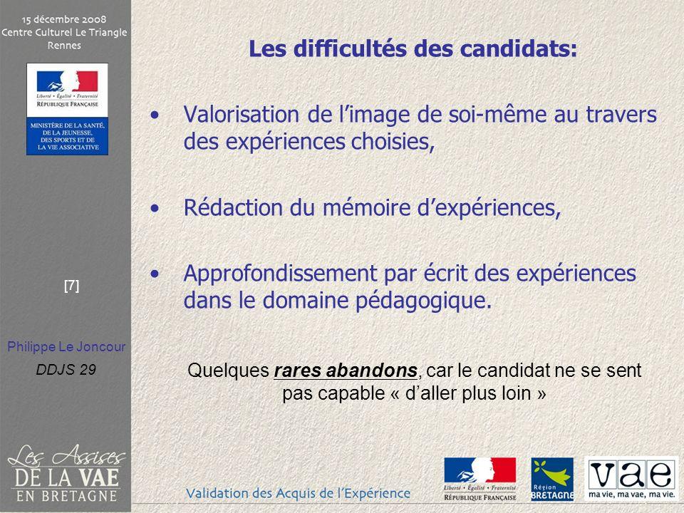 Philippe Le Joncour DDJS 29 [7] Les difficultés des candidats: Valorisation de limage de soi-même au travers des expériences choisies, Rédaction du mé