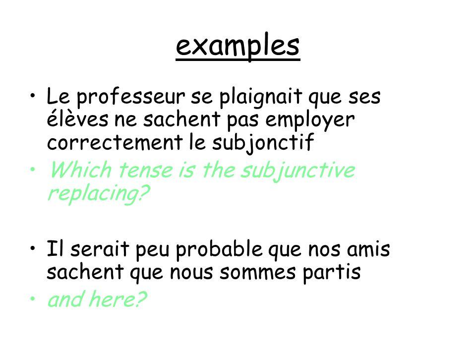 examples Le professeur se plaignait que ses élèves ne sachent pas employer correctement le subjonctif Which tense is the subjunctive replacing? Il ser