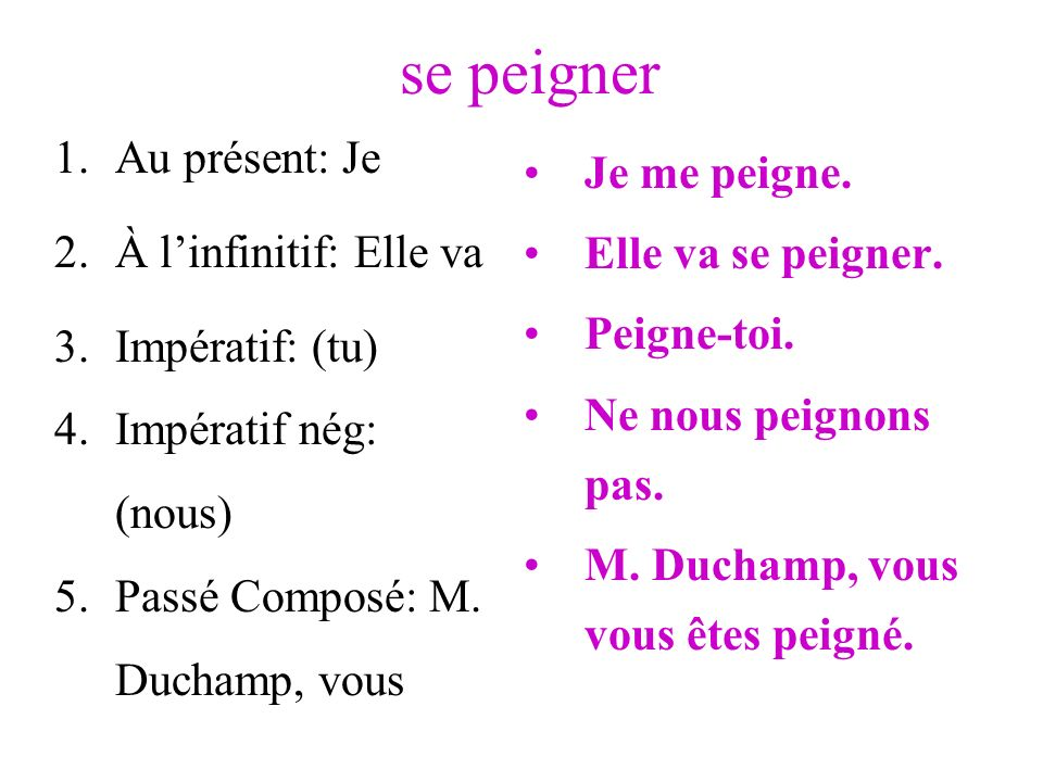 se peigner 1.Au présent: Je 2.À linfinitif: Elle va 3.Impératif: (tu) 4.Impératif nég: (nous) 5.Passé Composé: M. Duchamp, vous Je me peigne. Elle va