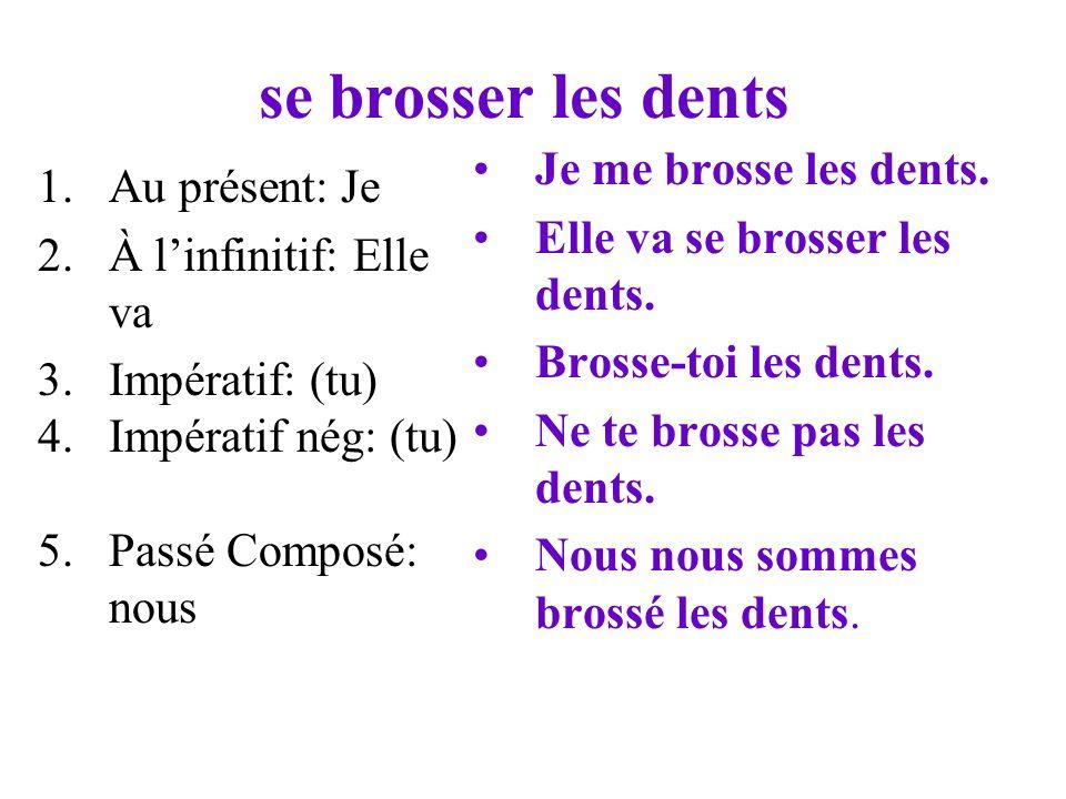 se brosser les dents 1.Au présent: Je 2.À linfinitif: Elle va 3.Impératif: (tu) 4.Impératif nég: (tu) 5.Passé Composé: nous Je me brosse les dents.