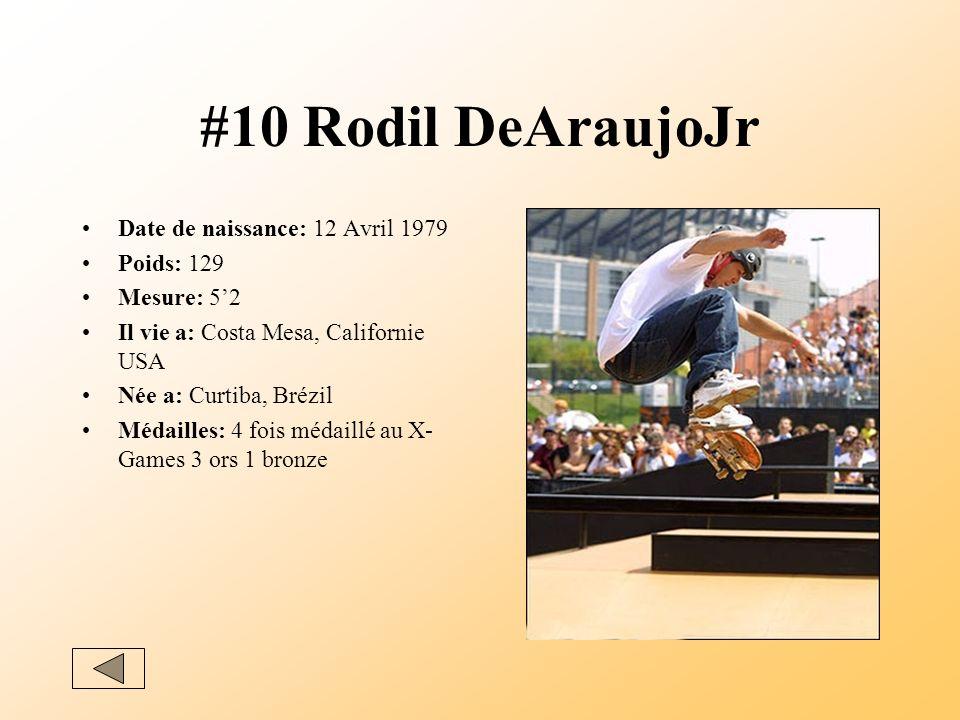 #10 Rodil DeAraujoJr Date de naissance: 12 Avril 1979 Poids: 129 Mesure: 52 Il vie a: Costa Mesa, Californie USA Née a: Curtiba, Brézil Médailles: 4 fois médaillé au X- Games 3 ors 1 bronze