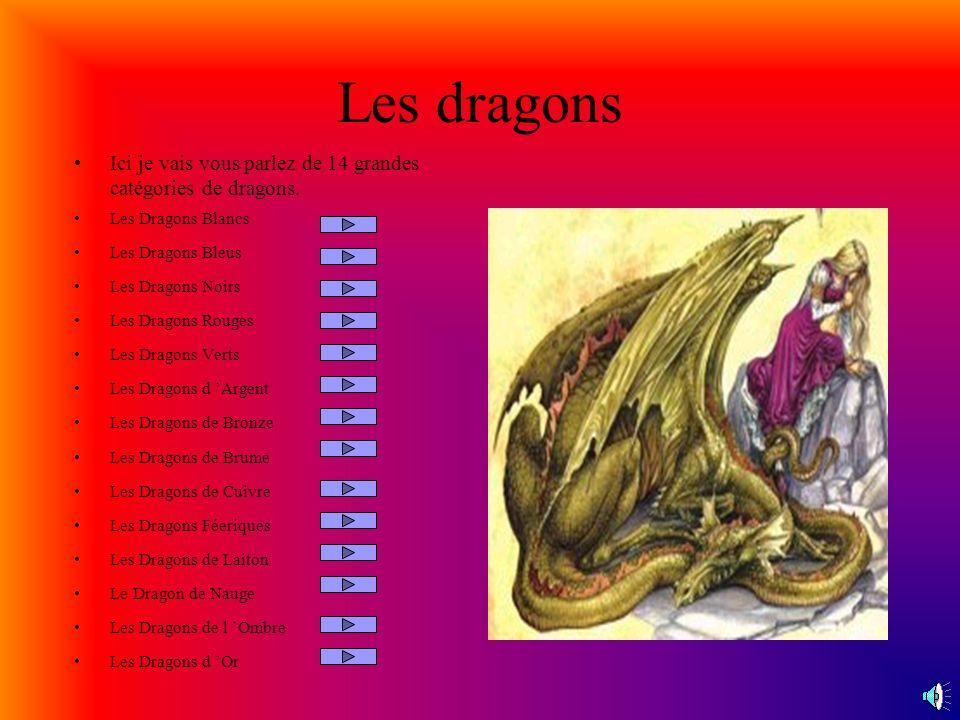 Les dragons Ici je vais vous parlez de 14 grandes catégories de dragons.