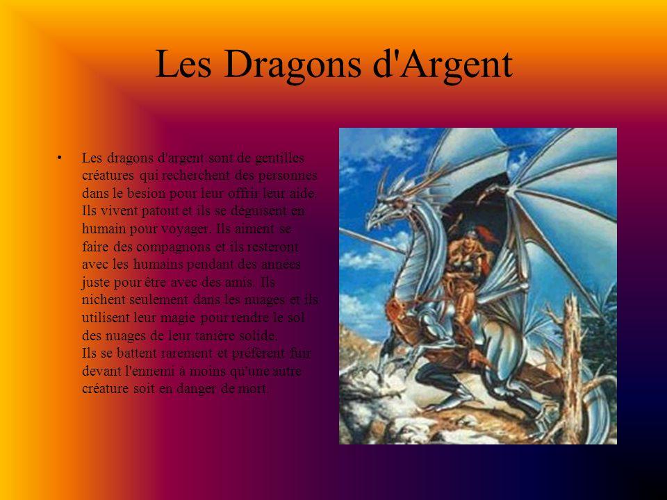 Les Dragons d Argent Les dragons d argent sont de gentilles créatures qui recherchent des personnes dans le besion pour leur offrir leur aide.