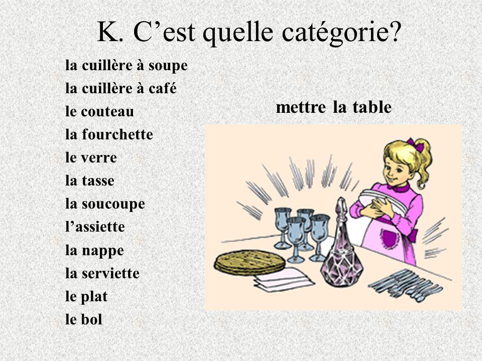 K. Cest quelle catégorie? la cuillère à soupe la cuillère à café le couteau la fourchette le verre la tasse la soucoupe lassiette la nappe la serviett