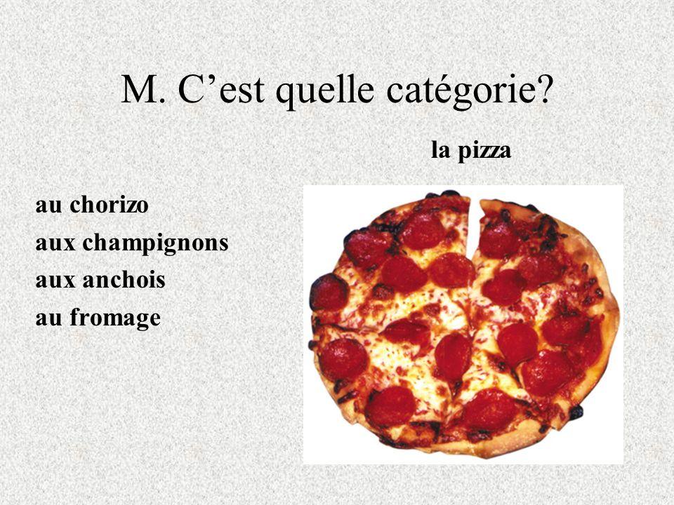 M. Cest quelle catégorie? au chorizo aux champignons aux anchois au fromage la pizza