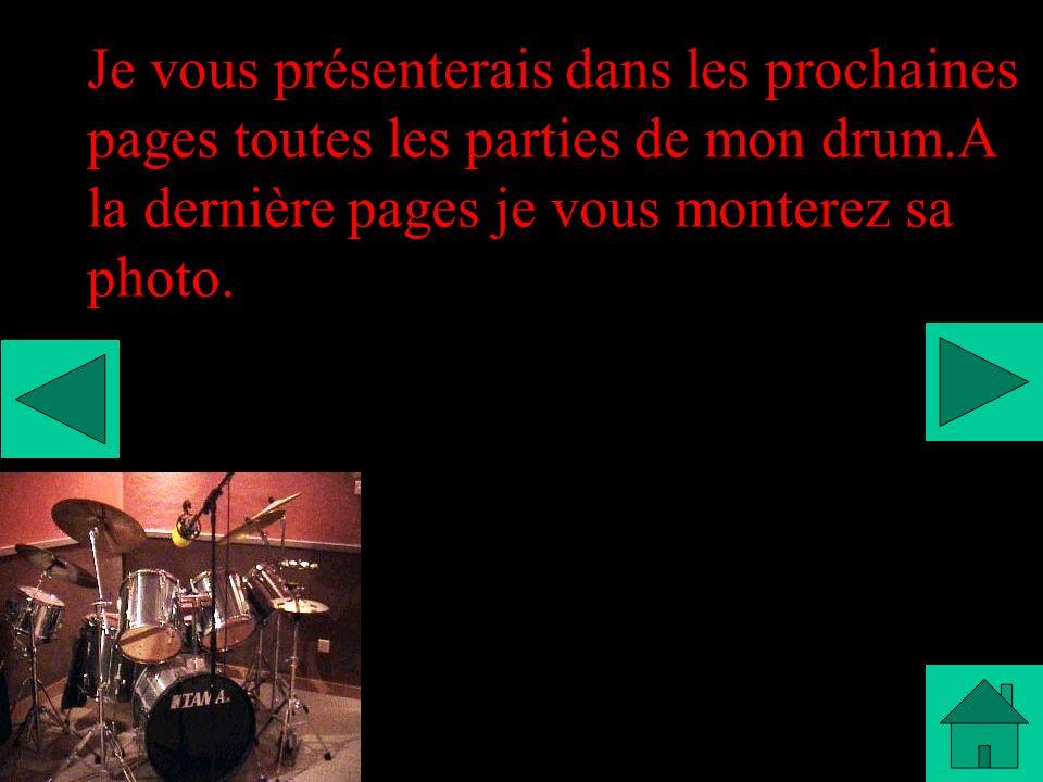 Je vous présenterais dans les prochaines pages toutes les parties de mon drum.A la dernière pages je vous monterez sa photo.