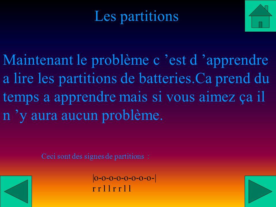 Les partitions Maintenant le problème c est d apprendre a lire les partitions de batteries.Ca prend du temps a apprendre mais si vous aimez ça il n y aura aucun problème.