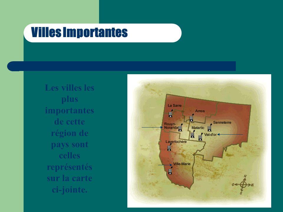 Villes Importantes Les villes les plus importantes de cette région de pays sont celles représentés sur la carte ci-jointe.