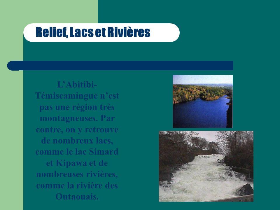 Relief, Lacs et Rivières LAbitibi- Témiscamingue nest pas une région très montagneuses. Par contre, on y retrouve de nombreux lacs, comme le lac Simar
