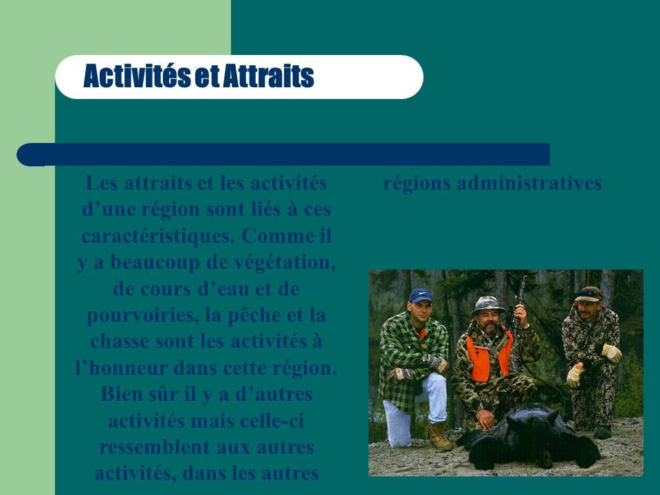 Activités et Attraits Les attraits et les activités dune région sont liés à ces caractéristiques. Comme il y a beaucoup de végétation, de cours deau e