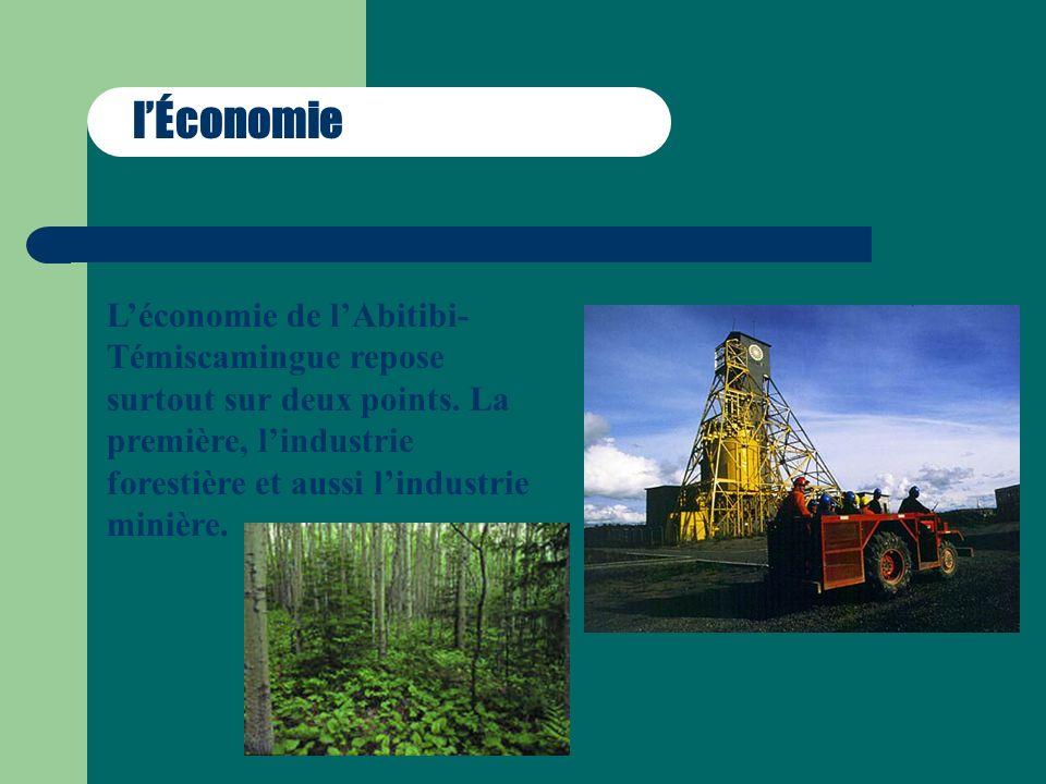 lÉconomie Léconomie de lAbitibi- Témiscamingue repose surtout sur deux points. La première, lindustrie forestière et aussi lindustrie minière.