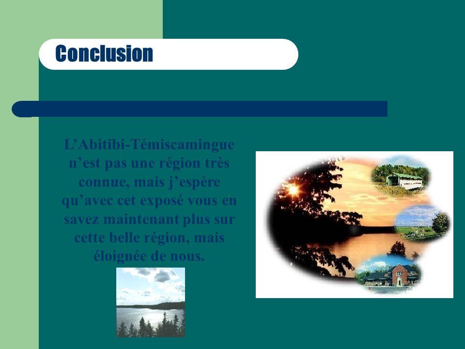 Conclusion LAbitibi-Témiscamingue nest pas une région très connue, mais jespère quavec cet exposé vous en savez maintenant plus sur cette belle région