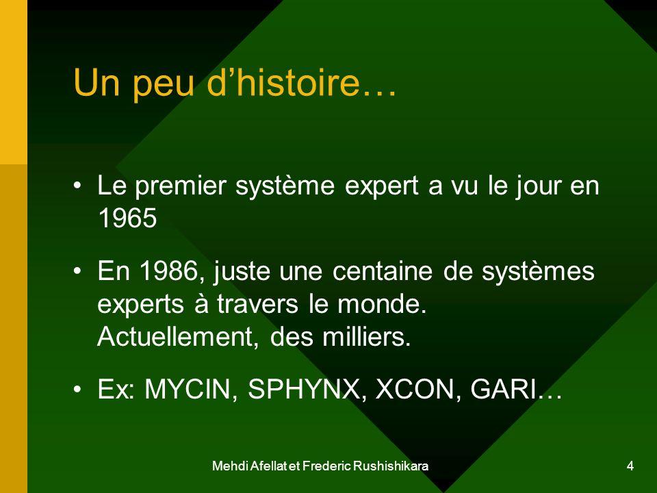Mehdi Afellat et Frederic Rushishikara 4 Un peu dhistoire… Le premier système expert a vu le jour en 1965 En 1986, juste une centaine de systèmes expe