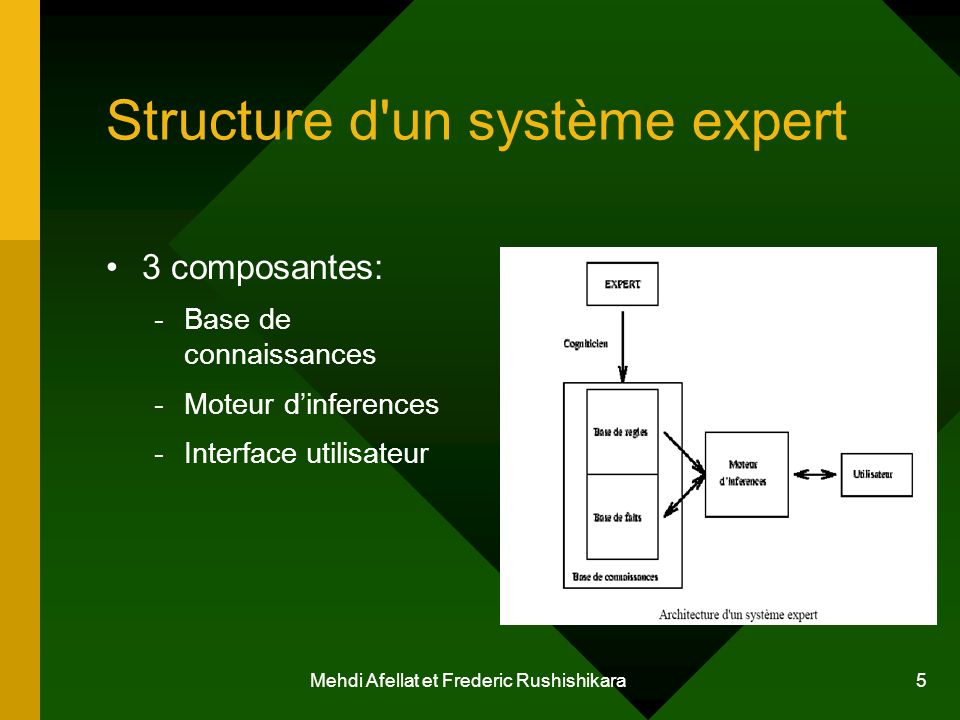 Mehdi Afellat et Frederic Rushishikara 5 Structure d'un système expert 3 composantes: -Base de connaissances -Moteur dinferences -Interface utilisateu