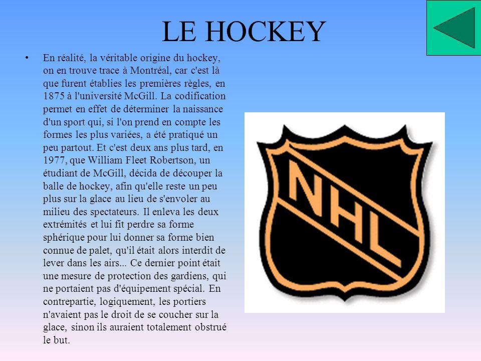 LE HOCKEY En réalité, la véritable origine du hockey, on en trouve trace à Montréal, car c est là que furent établies les premières règles, en 1875 à l université McGill.