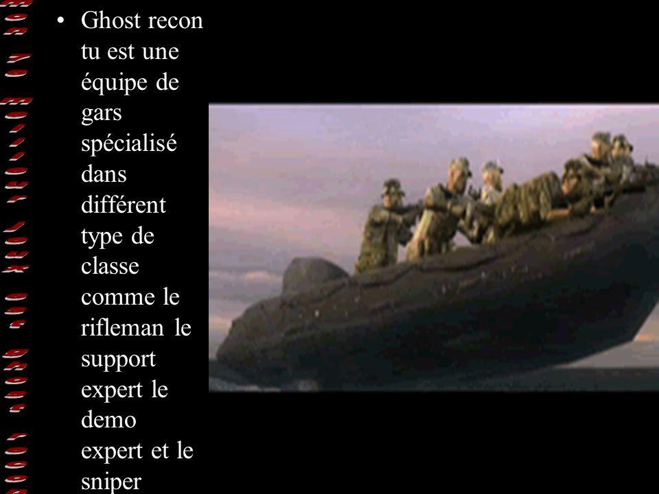 Ghost recon tu est une équipe de gars spécialisé dans différent type de classe comme le rifleman le support expert le demo expert et le sniper