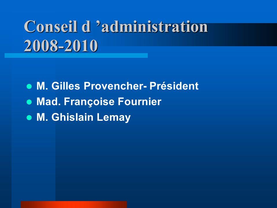Conseil d administration 2008-2010 M. Gilles Provencher- Président Mad. Françoise Fournier M. Ghislain Lemay