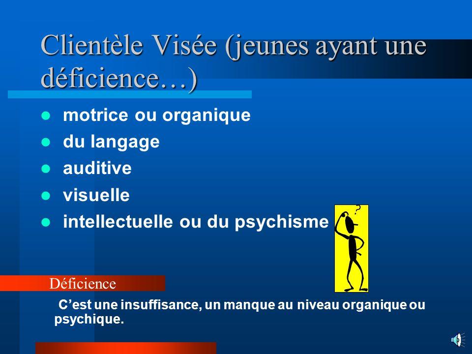 Clientèle Visée (jeunes ayant une déficience…) motrice ou organique du langage auditive visuelle intellectuelle ou du psychisme Cest une insuffisance, un manque au niveau organique ou psychique.