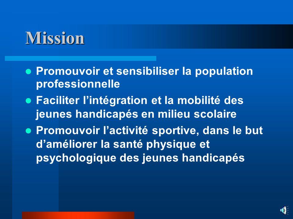 Mission Promouvoir et sensibiliser la population professionnelle Faciliter lintégration et la mobilité des jeunes handicapés en milieu scolaire Promouvoir lactivité sportive, dans le but daméliorer la santé physique et psychologique des jeunes handicapés