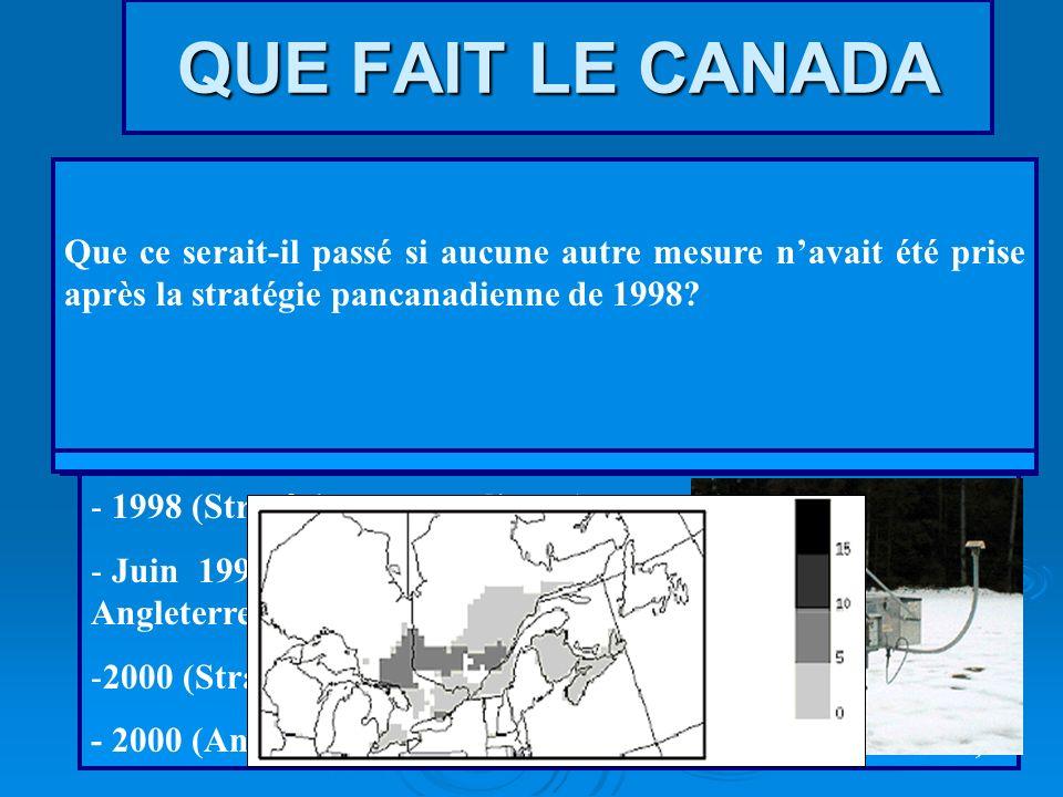 QUE FAIT LE CANADA Programmes instaurés pour réduire les pluies acides: - 1985 (programme de lutte, Est du Canada) - 1991 (Accord Canada-États-Unis) -