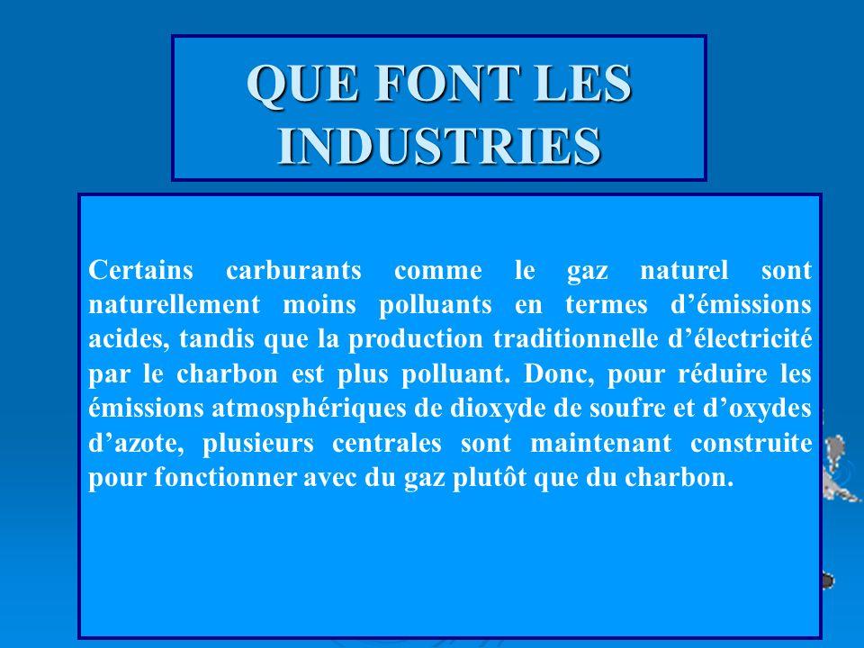 QUE FONT LES INDUSTRIES Les émissions acides de dioxyde de souffre et doxyde dazote résultent en général de sources industrielles en raison des proces