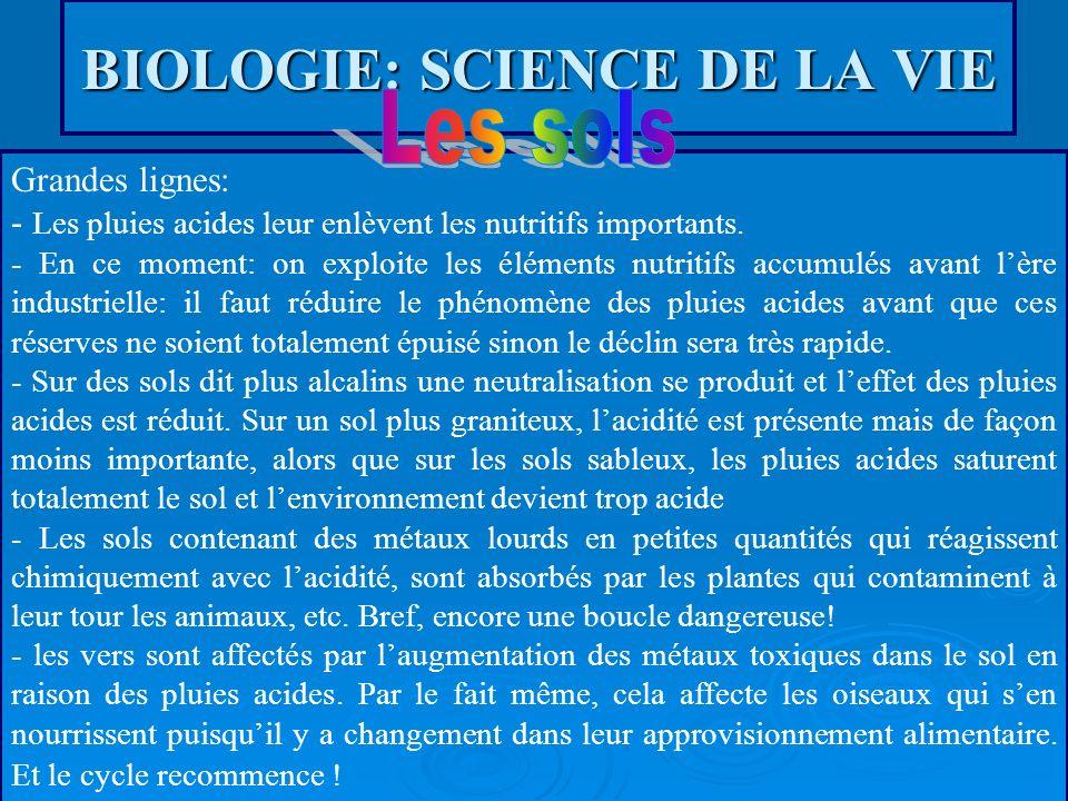 BIOLOGIE: SCIENCE DE LA VIE Grandes lignes: - Les pluies acides leur enlèvent les nutritifs importants. - En ce moment: on exploite les éléments nutri