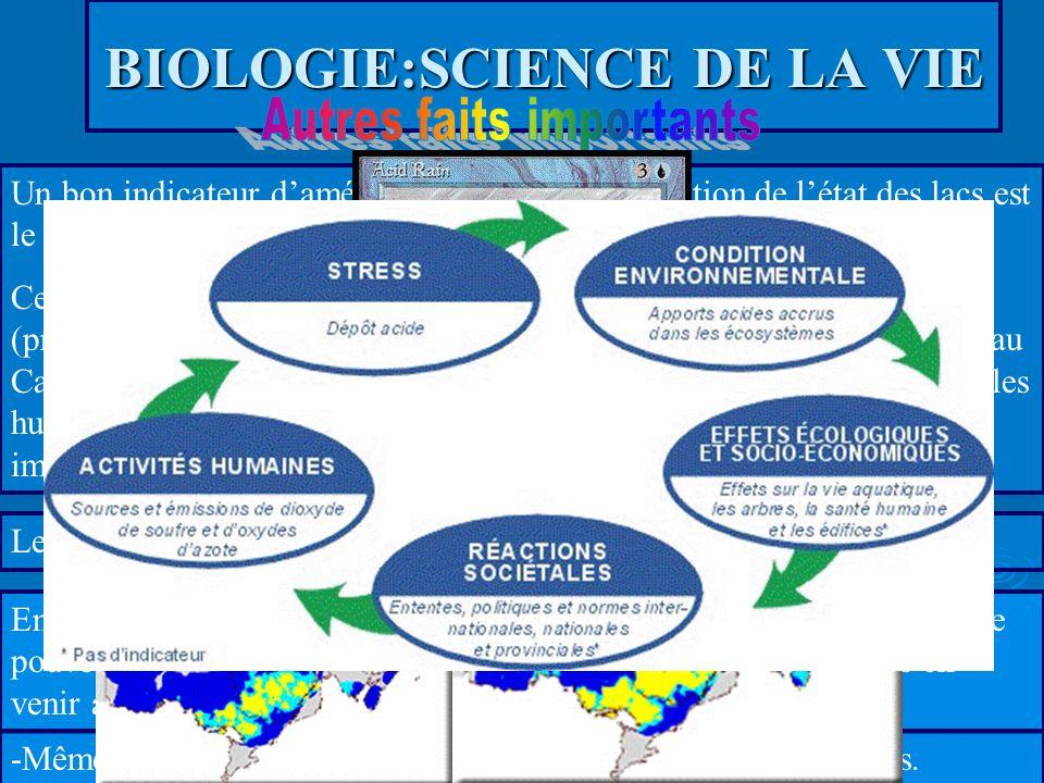 BIOLOGIE:SCIENCE DE LA VIE Un bon indicateur damélioration ou de détérioration de létat des lacs est le huard. Ce sont des responsables de linventaire