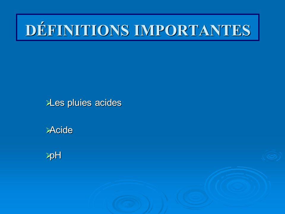 DÉFINITIONS IMPORTANTES Les pluies acides Acide pH