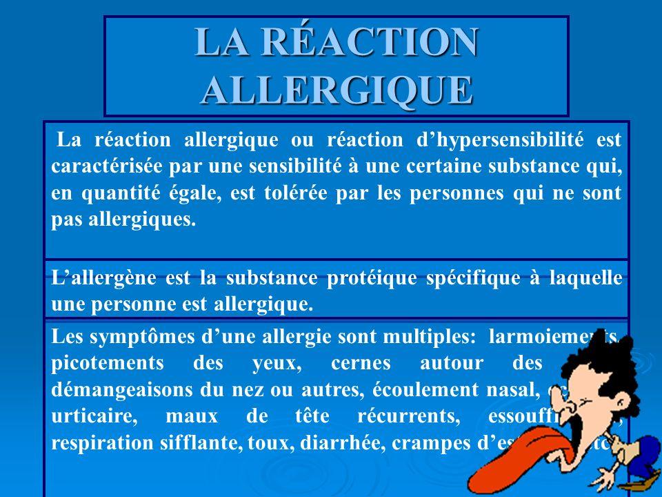 LA RÉACTION ALLERGIQUE La réaction allergique ou réaction dhypersensibilité est caractérisée par une sensibilité à une certaine substance qui, en quan
