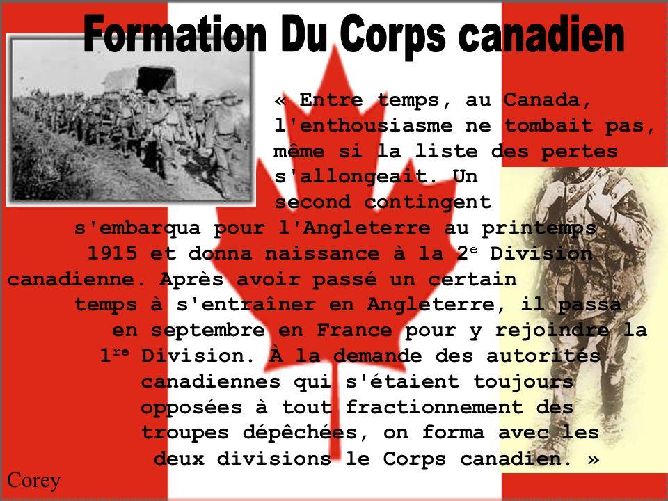 « Le Corps canadien prit alors position sur la portion de front s étendant de Saint-Eloi au Bois de Ploegsteert, où il passa un lugubre hiver.