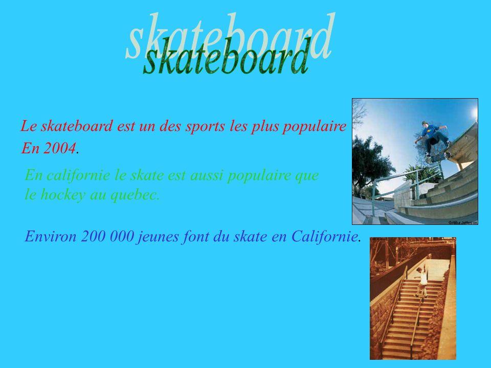 Le skateboard est un des sports les plus populaire En 2004. En californie le skate est aussi populaire que le hockey au quebec. Environ 200 000 jeunes