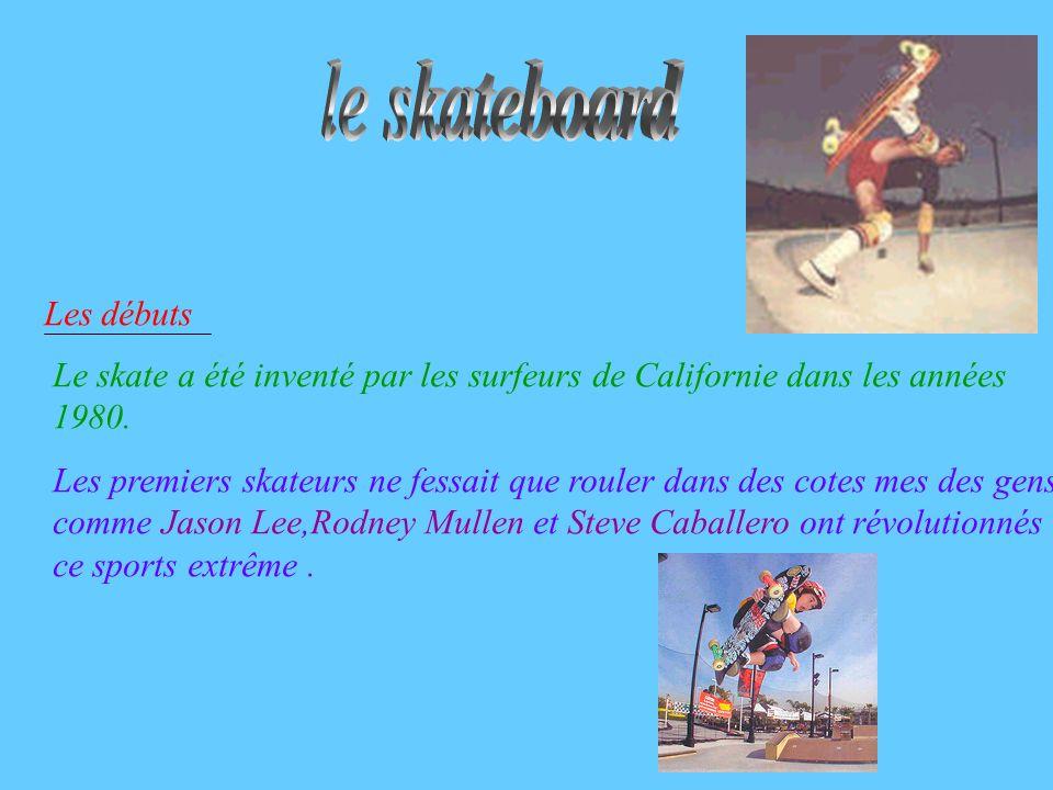 Les débuts Le skate a été inventé par les surfeurs de Californie dans les années 1980. Les premiers skateurs ne fessait que rouler dans des cotes mes