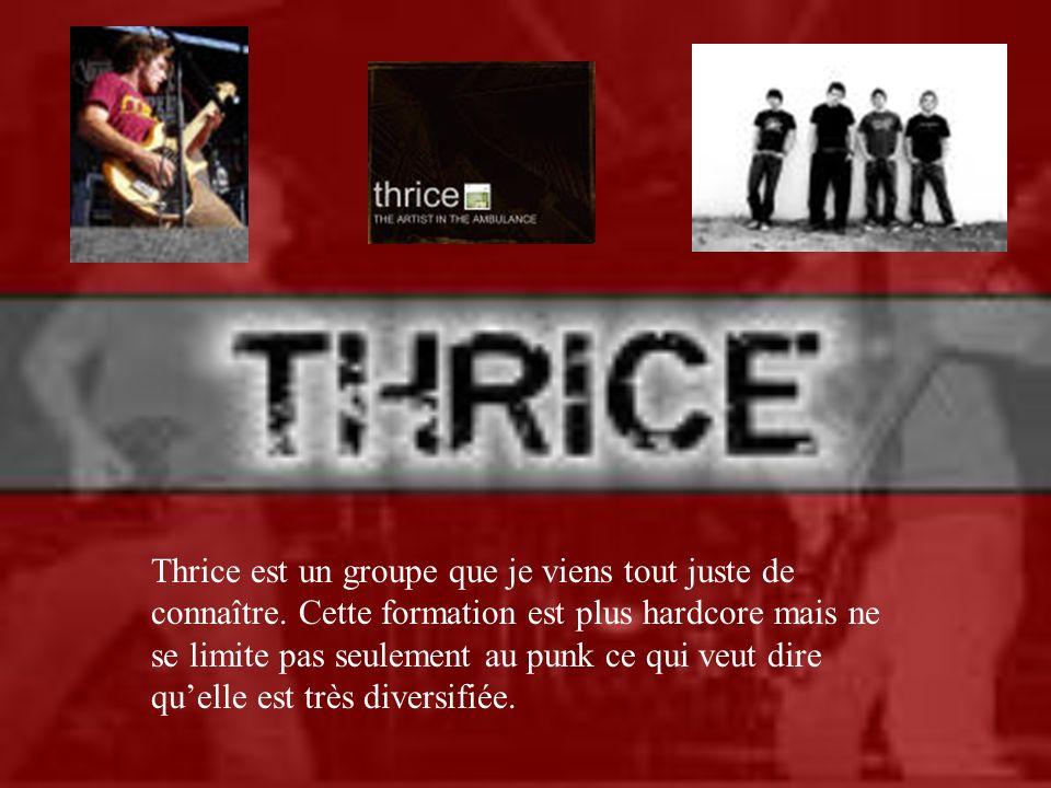 Thrice est un groupe que je viens tout juste de connaître. Cette formation est plus hardcore mais ne se limite pas seulement au punk ce qui veut dire