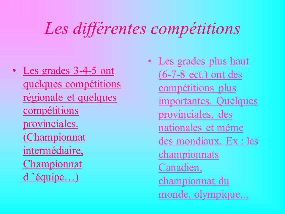 Les différentes compétitions!! Nous avons 2 compétitions d ordre régionale et dépendant des année, 3, 4 ou 5 compétitions provincial. Visitez ma page