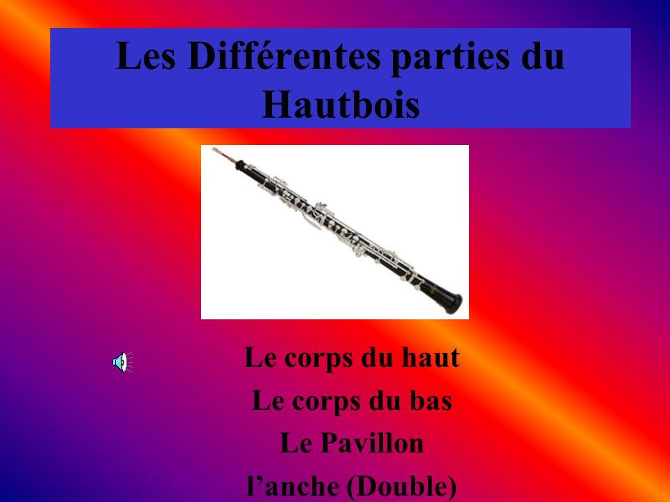Les Différentes parties du Hautbois Le corps du haut Le corps du bas Le Pavillon lanche (Double)