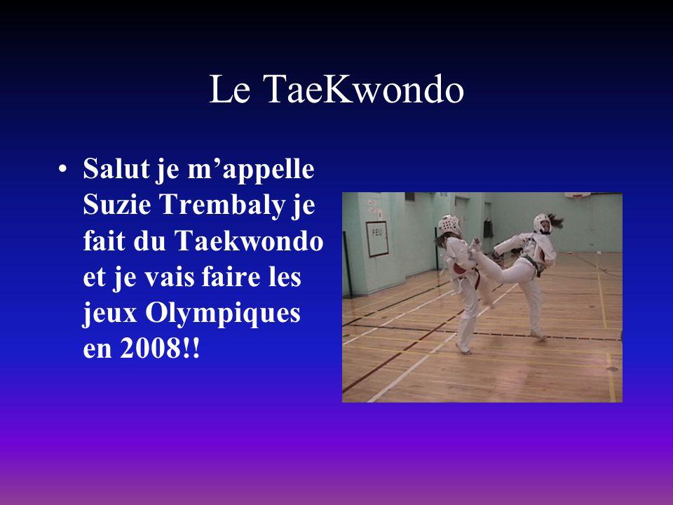 Le TaeKwondo Salut je mappelle Suzie Trembaly je fait du Taekwondo et je vais faire les jeux Olympiques en 2008!!