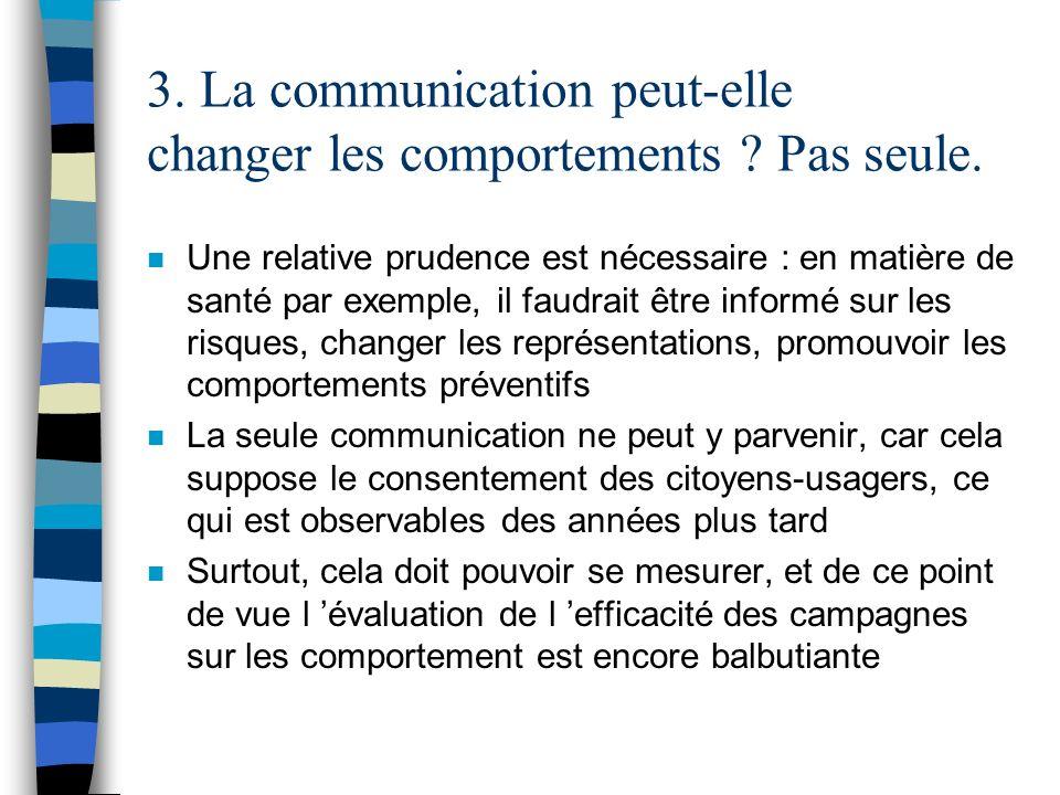3. La communication peut-elle changer les comportements ? Pas seule. n Une relative prudence est nécessaire : en matière de santé par exemple, il faud