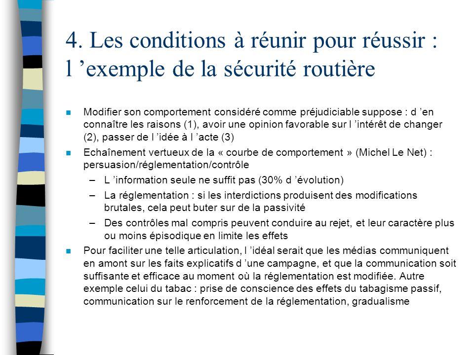 4. Les conditions à réunir pour réussir : l exemple de la sécurité routière n Modifier son comportement considéré comme préjudiciable suppose : d en c