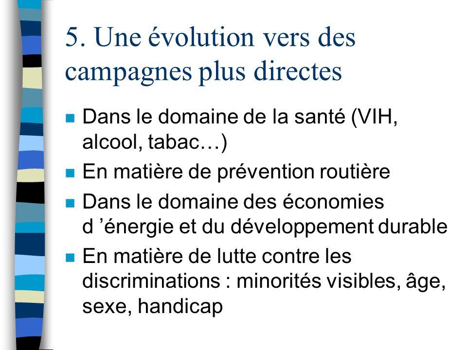5. Une évolution vers des campagnes plus directes n Dans le domaine de la santé (VIH, alcool, tabac…) n En matière de prévention routière n Dans le do