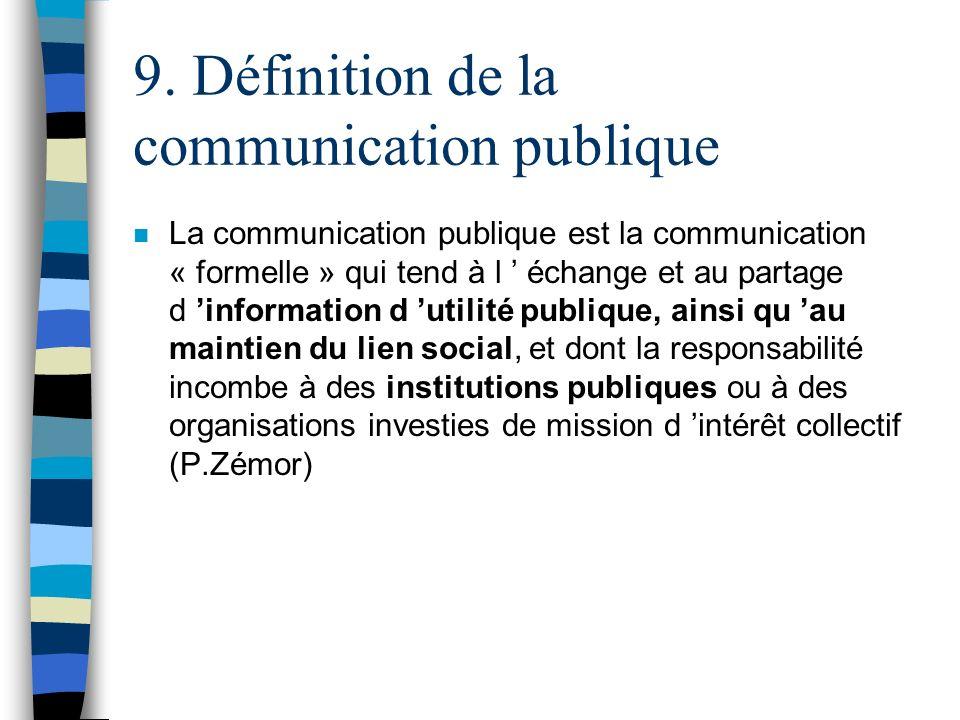 9. Définition de la communication publique n La communication publique est la communication « formelle » qui tend à l échange et au partage d informat