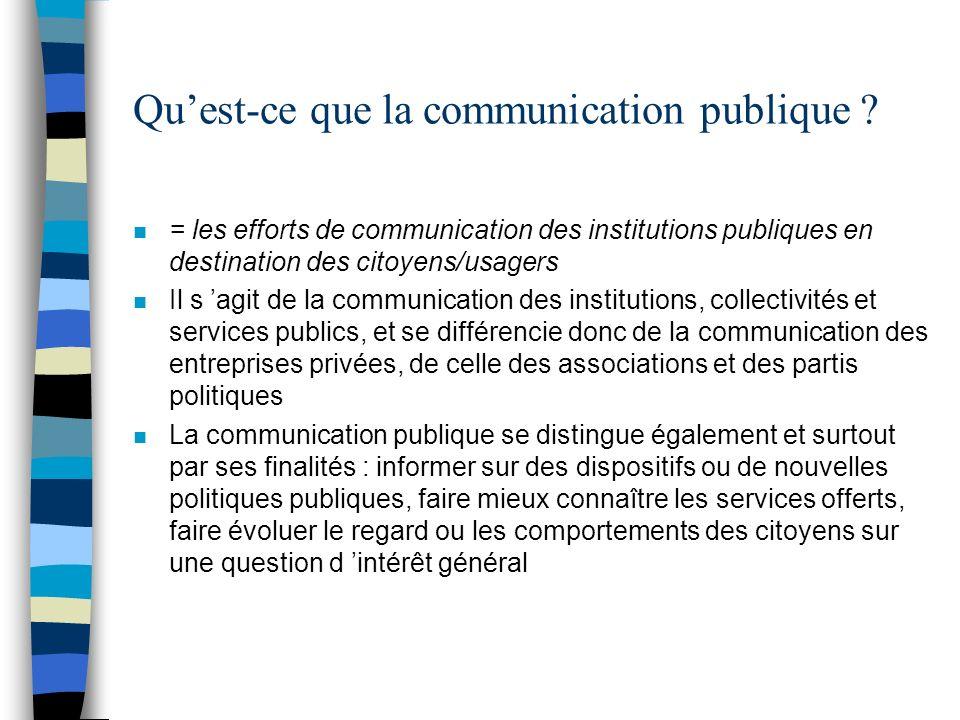 Quest-ce que la communication publique ? n = les efforts de communication des institutions publiques en destination des citoyens/usagers n Il s agit d