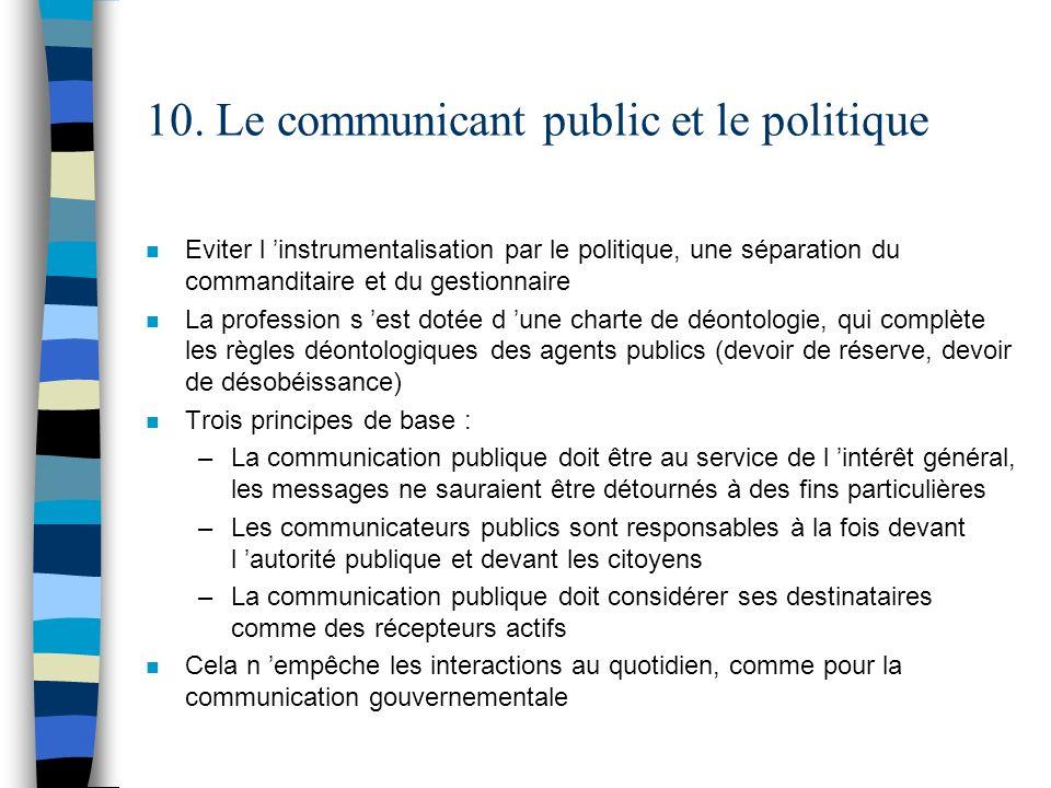 10. Le communicant public et le politique n Eviter l instrumentalisation par le politique, une séparation du commanditaire et du gestionnaire n La pro