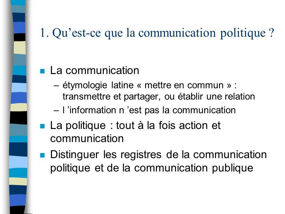 1. Quest-ce que la communication politique ? n La communication –étymologie latine « mettre en commun » : transmettre et partager, ou établir une rela