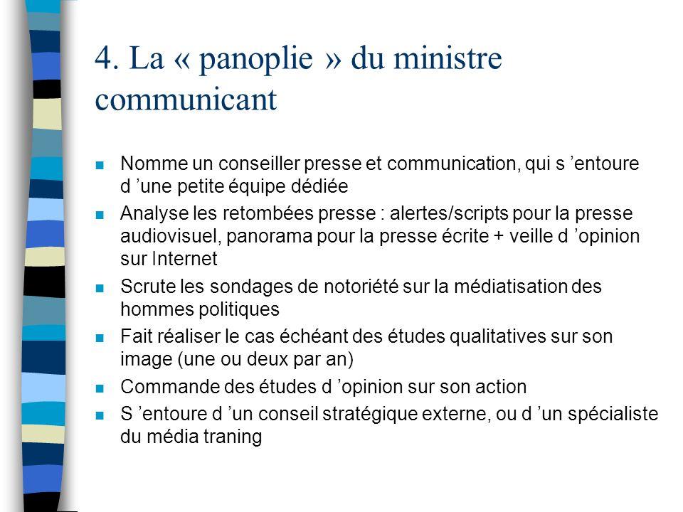4. La « panoplie » du ministre communicant n Nomme un conseiller presse et communication, qui s entoure d une petite équipe dédiée n Analyse les retom