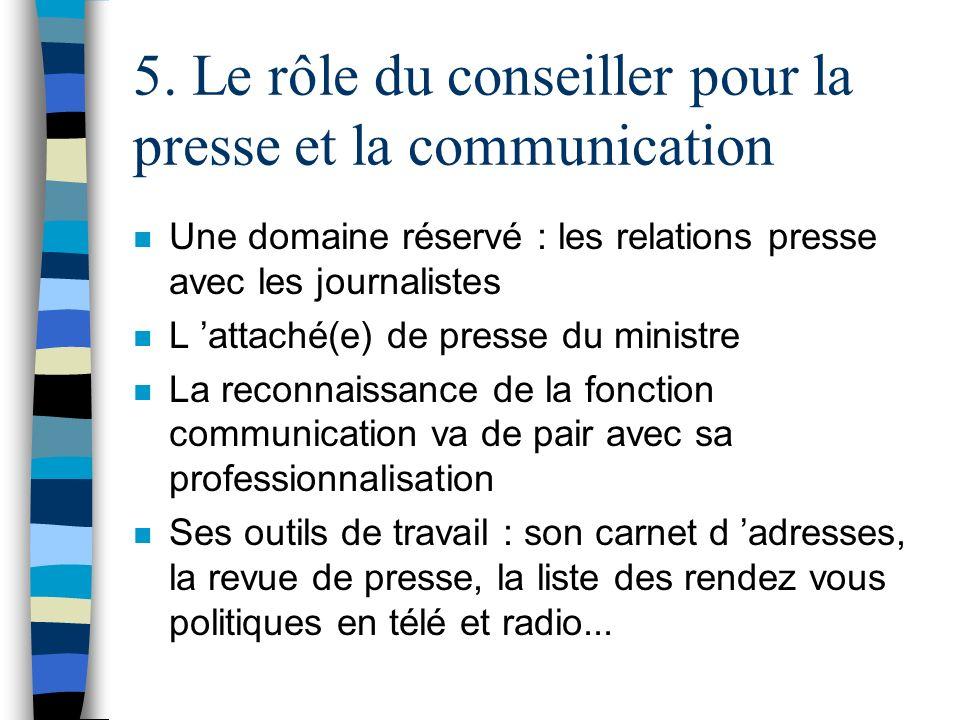 5. Le rôle du conseiller pour la presse et la communication n Une domaine réservé : les relations presse avec les journalistes n L attaché(e) de press