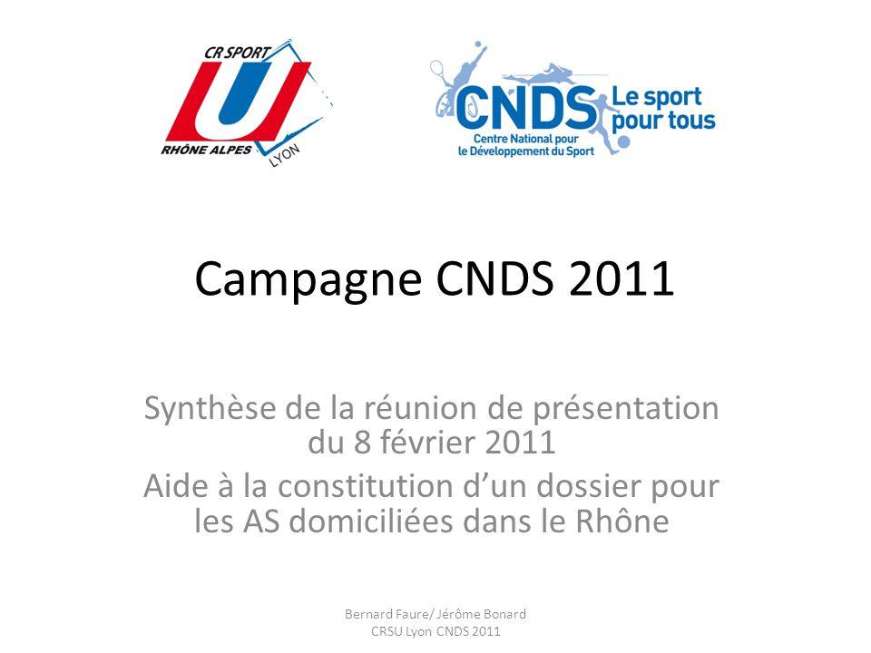 Campagne CNDS 2011 Synthèse de la réunion de présentation du 8 février 2011 Aide à la constitution dun dossier pour les AS domiciliées dans le Rhône Bernard Faure/ Jérôme Bonard CRSU Lyon CNDS 2011